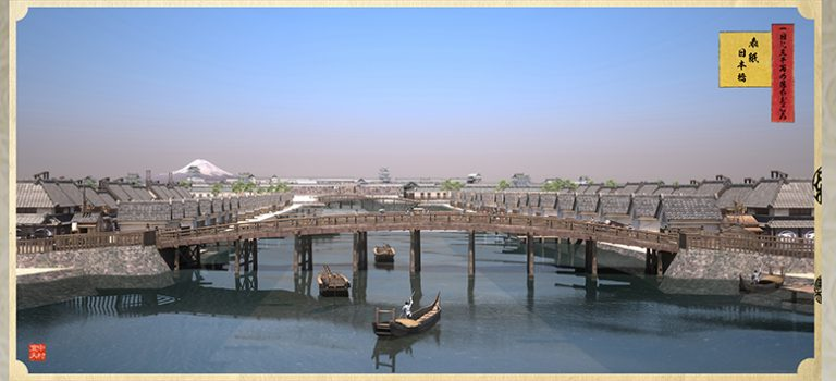 江戸橋から望む日本橋と江戸城